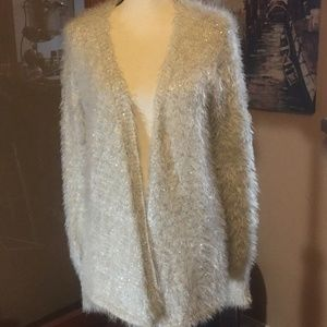 Jeans by Buffalo ivory fuzzy sequin open cardigan